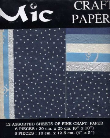 12 Sheets of High Quality Fine Blue & Silver Craft Paper